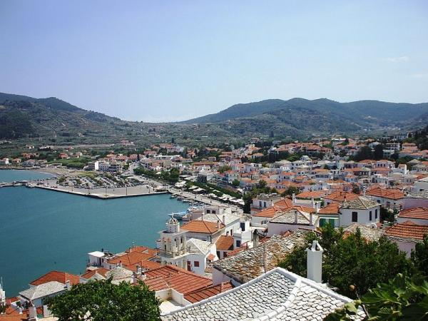 skopelos town from hill